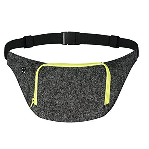 AIWENSI Extra Wide Running Belt, Adjustable Travel Money Belt Fit All Smartphones and Passport, Stylish Fitness Workout Belt Waist Pack for Men Women Runners, Black