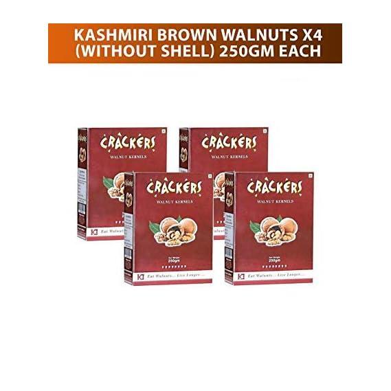 Go Crackers Kashmiri Brown Walnuts kernels Pack of 4(Each 250 gm)
