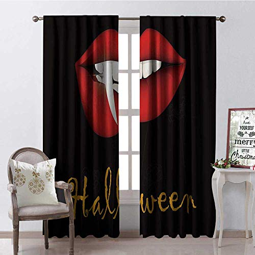 Hengshu Halloween Vampire Red Lip Teeth Multicolor Waterproof Window Curtain Decorative Curtains for Living Room W108 x L84]()