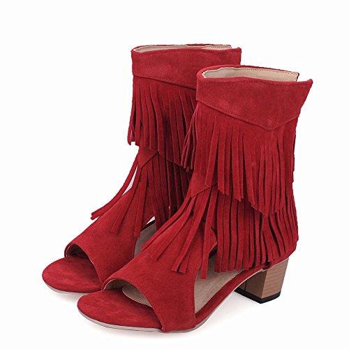 Fascino Alto Da Donna Con Nappine Con Punta Aperta Sandalo Estivo Rosso