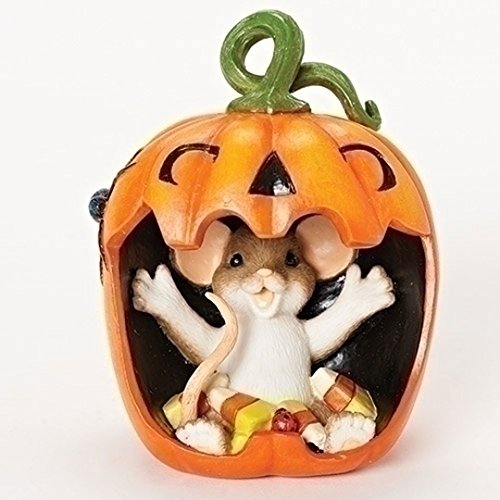 Roman Charming Tails Halloween Mouthful Mouse in Jack-O-Lantern Figurine 30387 New