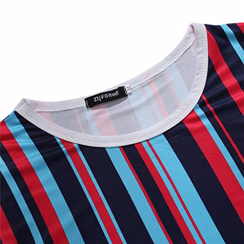 Mens Casual Stripe Patchwork Short SleevedSlim Fit T Shirts Top Blouse (M, Red) by chuxin huang (Image #4)