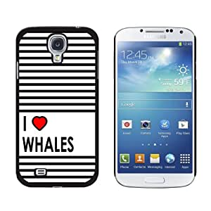 Graphics and More I Love Heart Whales Snap-On Hard Protective Case for Samsung Galaxy S4 - Non-Retail Packaging - Black