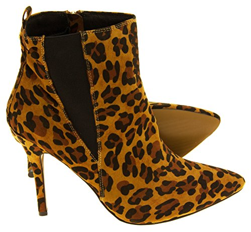 Pointed Toe Heel Ankle Stiletto Ravel Coleman Boots Leopard Velvet Womens nARwXSxY