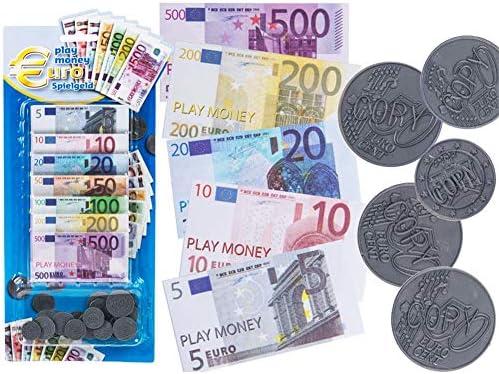 Dinero para jugar euros, monedas de plastico & billetes de papel: Amazon.es: Juguetes y juegos