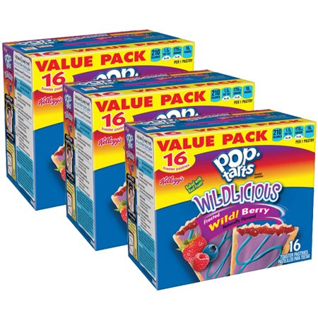 Kellogg's Pop-Tarts Wildlicious Frosted Wild! Berry, 16 ct, 30.4 oz - Pack of 3 by Pop-Tarts