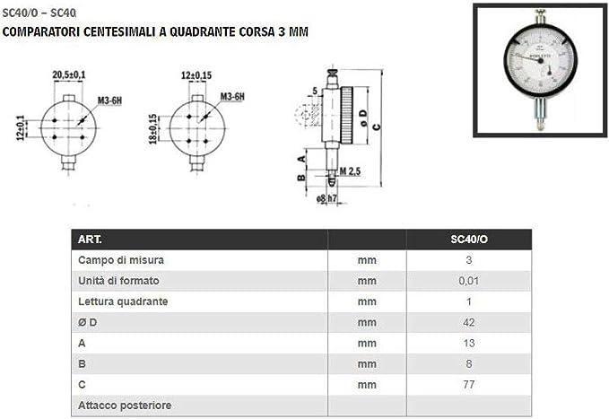 COMPARATORE BORLETTI CON SUPPORTO MAGNETICO REGISTRABILE LTF Art 79.03 SC40//O