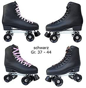 Echtleder Rollschuhe / Discoroller schwarz mit Stopper Gr. 37 - 44 in Top...