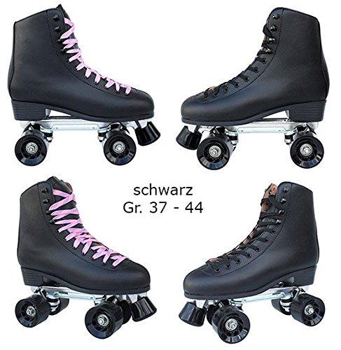 Echtleder Rollschuhe / Discoroller schwarz mit Stopper Gr. 37 - 44 in Top Qualität (schwarz - 44)