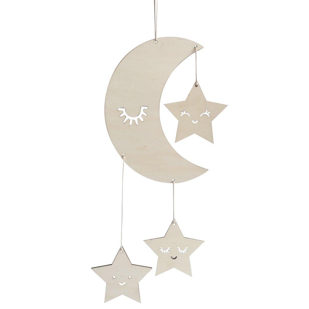 BESTOYARD Techo de Guardería Mobile Moon Stars Ceiling Hanging Decorations para Baby Shower Habitación de bebé