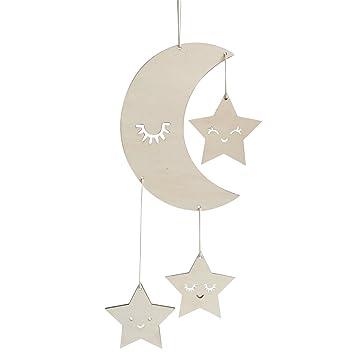 Bestoyard Holz Hängedeko Mond Sterne Mit Augenwimper Gute Nacht