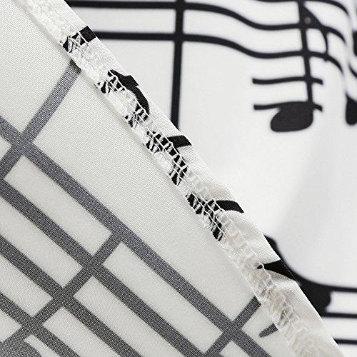 Vestiti Vintage Abiti Elegante Senza Maniche Scollo a Barca Donna musicale Note Stampa Abito da Sera Girocollo Orlo Cintura Banda di Seta