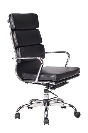 Viva Office Chaise Pour Bureau Moderne En Cuir Naturel Rgnr Avec Dossier Haut