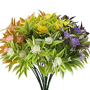 NAHUAA Artificial Fake Flowers Bundles 4PCS Outdoor Plastic Greenery Plants Bushes Faux Floral Bouquets Table Centerpieces Arrangements Decor Wedding Home Kitchen Office Windowsill Summer Decorations 75