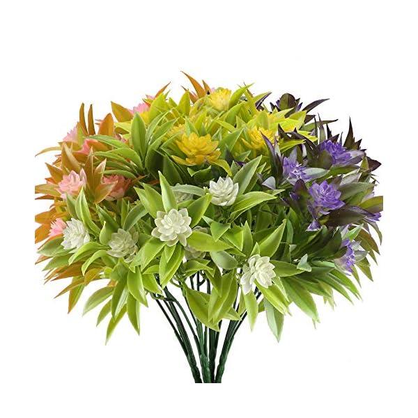 NAHUAA Artificial Fake Flowers Bundles 4PCS Outdoor Plastic Greenery Plants Bushes Faux Floral Bouquets Table Centerpieces Arrangements Decor Wedding Home Kitchen Office Windowsill Summer Decorations