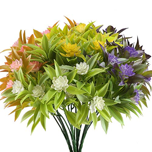 NAHUAA Artificial Fake Flowers Bundles 4PCS Outdoor Plastic Greenery Plants Bushes Faux Floral Bouquets Table Centerpieces Arrangements Decor Wedding Home Kitchen Office Windowsill Summer Decorations -