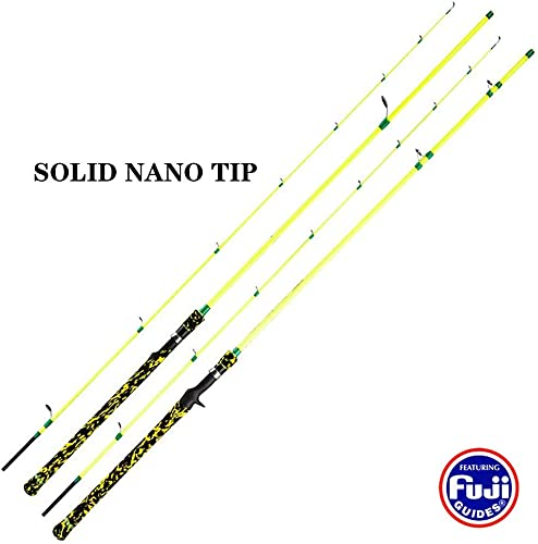 GooFish Nereus Solid Nano Tip 7ft 8ft Spinning Casting C. WT 20-45g 0.7-1.6oz Bass Snakehead Lure Fishing Rod Surf Pole with Fuji