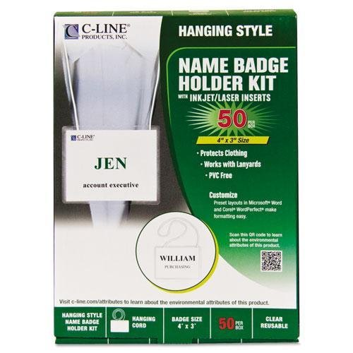C-Cline 97043 Biodegradable Name Badge Holder Kit, 3 x 4, Clear, 50/Box
