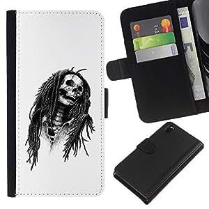 iBinBang / Flip Funda de Cuero Case Cover - Marley Rasta Cráneo Jamaica Cantante - Sony Xperia Z3 D6603