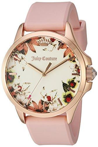Juicy Couture Women's 'Jetsetter' Quartz Gold and Silicone Quartz Watch, Color:Pink (Model: 1901485) ()