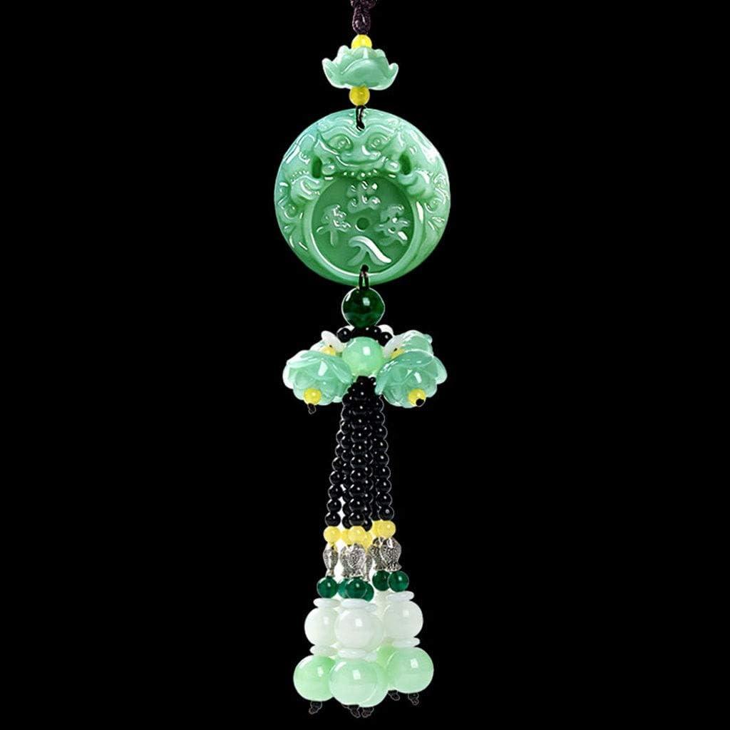 CKH Decoración del hogar Creativo Cristal Jade Calabaza Colgante Interior del Coche Manualidades Decoración del Interior del hogar Regalos (Color : Green 2)