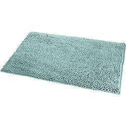 "AmazonBasics Non-Slip Microfiber Shag Bath Rug, 21"" x 34"", Seafoam Green"