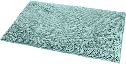 AmazonBasics Non-Slip Microfiber Shag Bathroom Rug Mat, 21' x 34', Seafoam Green