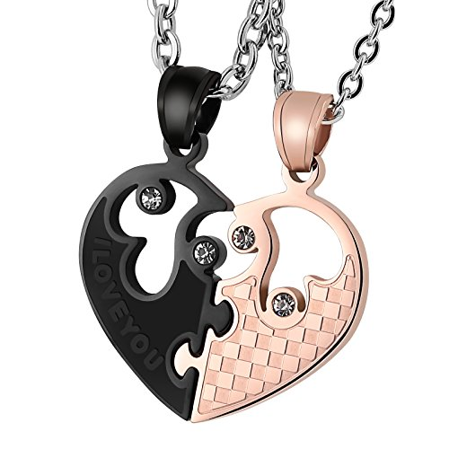 (Aienid Couple Necklace His and Hers Matching Stainless Steel I Love You Heart Pendant for Men Women)