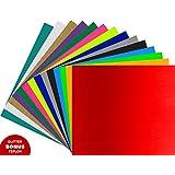"Heat Transfer Vinyl ARTEX   12""x10"" 15 Color Starter   Bonus: Teflon, Glitter   Vibrant HTV Vinyl Bundle   Great For Silhouette Cameo, Cricut Iron On Vinyl or Heat Press"