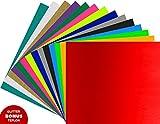 "Heat Transfer Vinyl ARTEX | 12""x10"" 15 Color Starter | Bonus: Teflon, Glitter | Vibrant HTV Vinyl Bundle | Great For Silhouette Cameo, Cricut Iron On Vinyl or Heat Press"