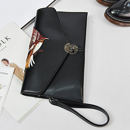 Cross Handbag PU Goodbag Boutique Envelope leather Ethnic Bag Shoulder Eagle Embroidery Body Clutch Black Women BBUfqTxv