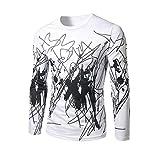 Shirt Men,kaifongfu Long Sleeve Printed Slim Fit Casual T-shirts Top (XL, White)