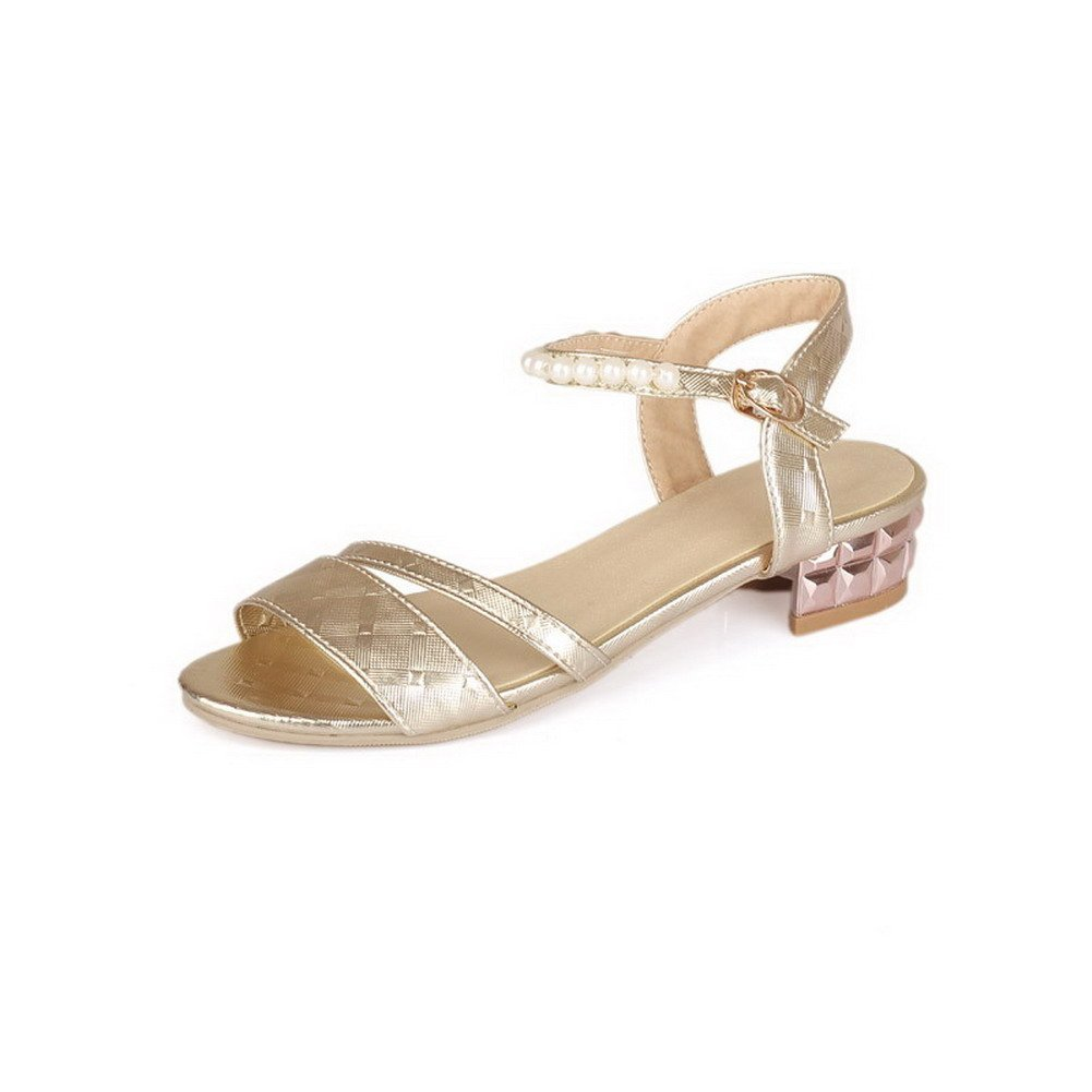 VogueZone009 Women's Open Toe Buckle Pu Solid Low Heels Sandals, Gold, 43 by VogueZone009