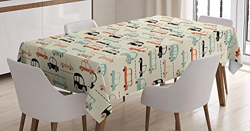 Children's City Map Tablecloth Linen Decor Table Cover for Kitchen Dinning Room Rectangle Oblong Tablecloths 60 W X 162 L Inch, Rush Hour Theme Vehicles in Traffic Road with Many Lanes Beige Backdrop -