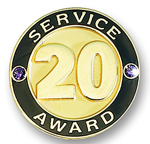 20 Year Service Appreciation Gold Award Lapel Pins with Two Gemstones, 12 Pins