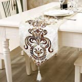 Cotton Table Runner with Tassles Table Top Decoration Home Decor for Living Rooms , Dinner Parties, Coffee Tables , Banquets (33 x 250 cm)