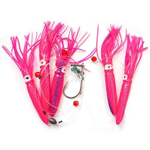 Fish WOW! Fishing Shell Squid Rig Daisy Chain Trolling Lure – Pink