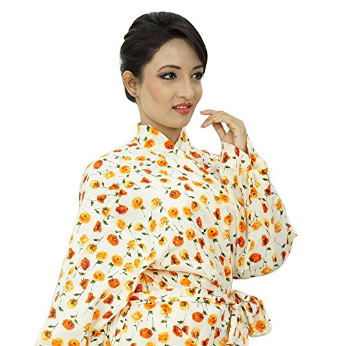 Algodón de la impresión floral del traje de dama regalo Crossover kimono traje del balneario del abrigo beige naranja