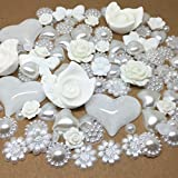 Roseys Craft Shops Deluxe White/OffWhite Mixed Flatbacks, Hearts, Roses, Round, Bows And by Roseys Craft Shop