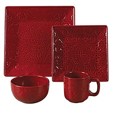 Savannah 16 Piece Dinnerware Set Color: Red