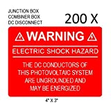 200 Premium UV Resistant Solar PV Safety Warning Photovoltaic System Labels ELECTRIC SHOCK HAZARD