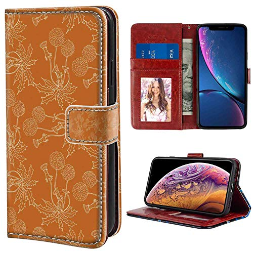 iPhone Xs Max Wallet Case, Burnt Orange Dandelions Poppies and Wildflowers Silhouettes Romantic Garden Art Burnt Orange and White PU Leather Folio Case with Card Holder and ID Coin Slot