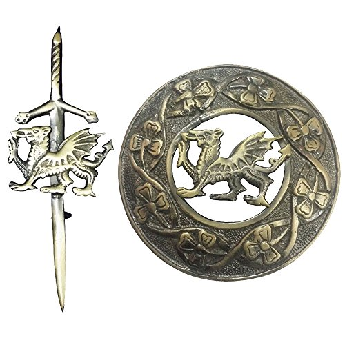 (Celtic Welsh Dragon Kilt Fly Plaid Brooch Antique Finish 3