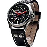 Smith & Wesson SWW-GRH-1 Mumbai Lamplighter Watch with Leather Strap, Black