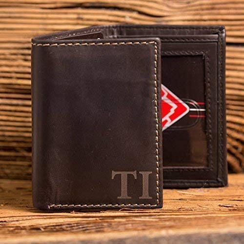 Black Mens Genuine Leather Monogrammed Tri-Fold Wallet with Custom Personalization Brown