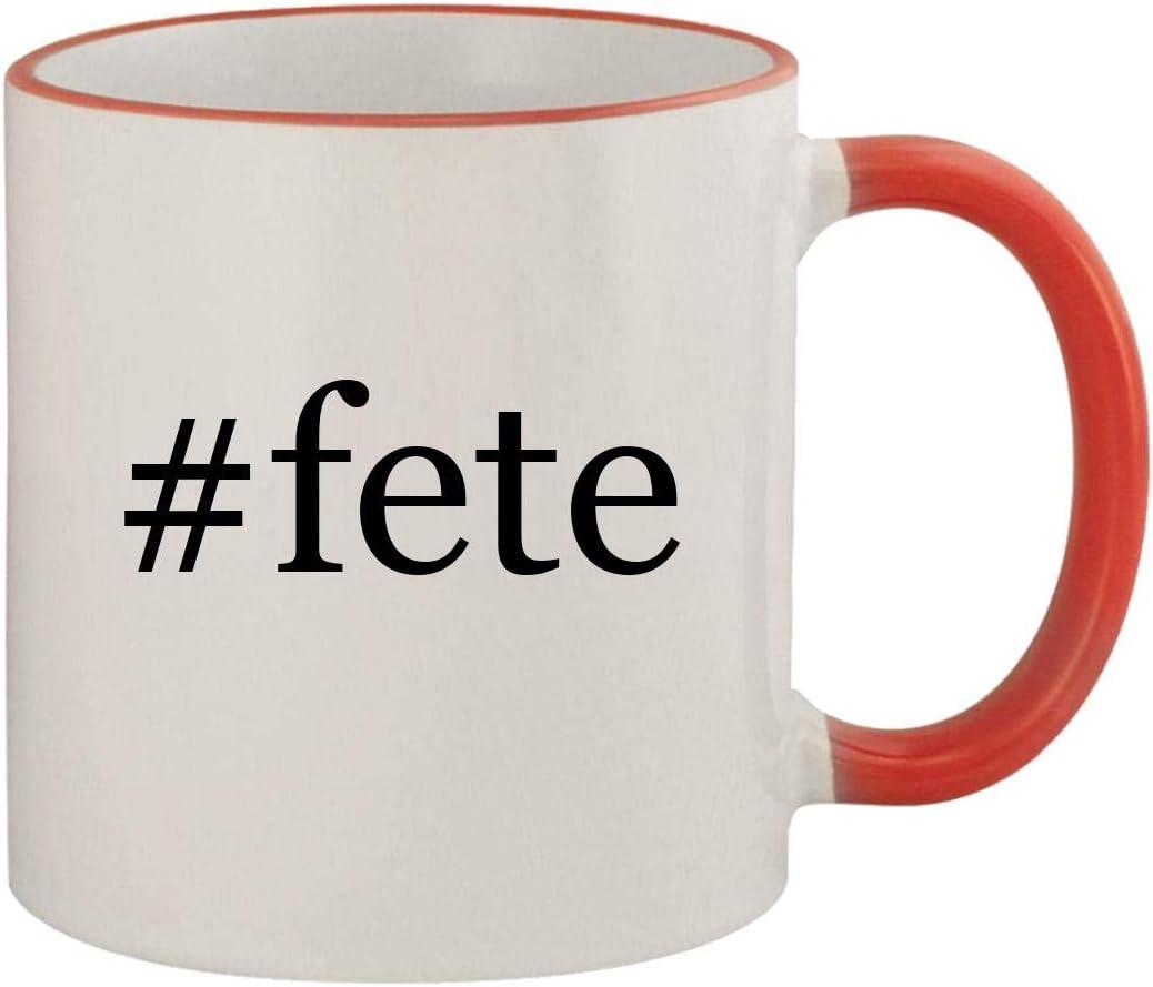 #fete - 11oz Ceramic Colored Rim & Handle Coffee Mug, Red 510z8lOzVmL