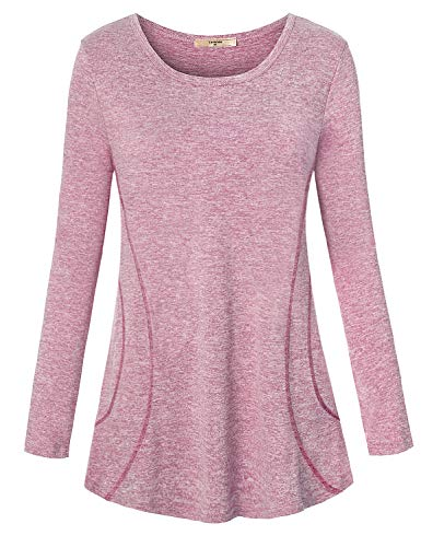 - Luranee Activewear Tops for Women, Ladies Long Sleeve Relaxed Fit Performance Gym Shirts Comfy Yoga Running Wear Cationic Polyester Athletic Exercises Tunic Clothes with Vibrant Lines Light Red L