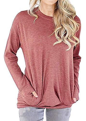RJXDLT Women's Long Sleeve Loose Shirt Crew Lightweight Sweatshirts Pullover Casual Tops Sweatshirt with Pocket Light red S ()