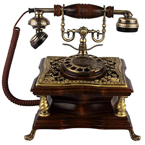 FADACAI Antique Phone Home Seat Machine Classical Solid Wood Living Room Fixed Telephone Hands-Free Dial 22 23 25cm , a by WANG