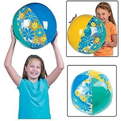 "Summer Floral Beach Ball - Inflated, Approx. 15"" inflated: Home & Kitchen"